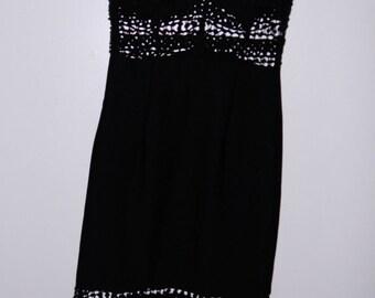 Black Crochet Cutout Dress