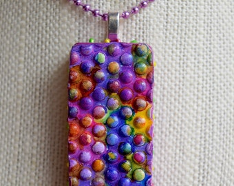 "Upcycled Domino ""Color Dots"" Alcohol Ink Pendant"