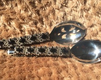Serving Set - Beaded on the front and Back with Glass & Slider Beads and Swarovski Crystals.