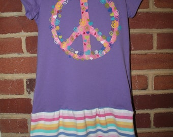 Upcycled Peace Dress, Children's Place size 7 / 8