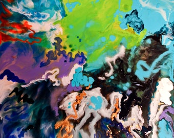 Large Original Abstract Art // PIPE DREAMS // Mixed Media Painting