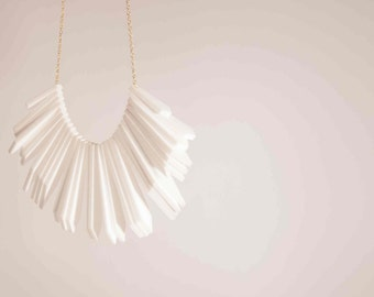 Large laser cut white perspex beaded necklace