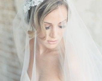 Juliet Cap, Wedding Veil, Bridal Veil, Alencon Lace Veil, Long Veil, Chapel Length Veil, Boho Veil, 1920's Veil, STYLE: EMILY