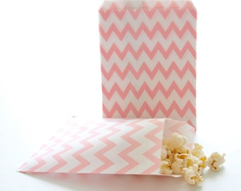 Pink Favor Bags, Baby Shower Goodie Bag, Small Treat Bags, Pink Paper Bags, 25 Pack - Pink Chevron Bags