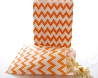 Orange Goodie Bags, Candy Buffet Bags, Bridal Gift Bags, Bridesmaid Goodie Bags, 25 Pack - Orange Chevron Paper Bags