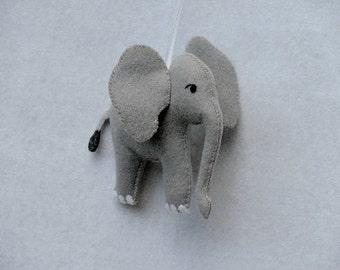 Elephant Ornament Felt Ornaments Felt Animal Ornament Christmas Ornament Zoo Theme Nursery Decor Baby Elephant Gray Elephant Safari Elephant