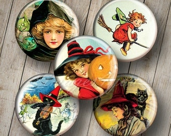 """Vintage Witch Halloween Digital Collage Sheet 1"""" bottle cap images, 1 inch round download 30mm 25mm 1.25"""" 1.5"""" circles printable art pendant"""