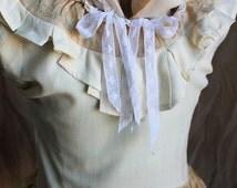 Victorian Steampunk Explorer Ruffled Peplum Eri Silk Blouse Custom Size