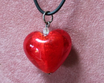 Red Murano Glass Heart on Black Leather Cord/Birthday/Mother's Day/Valentine's Day