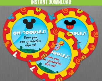 Disney Mickey Mouse Clubhouse Toodles Birthday Favor Tags - Instant Download and print with Adobe Reader