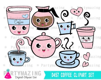 Coffee Clipart,  Planner Clip Art Set, kawaii clipart, Coffee Break, food clipart, Handdrawn clipart, coffee shop clipart D457