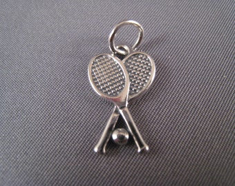 Tennis Rackets and Ball .925 Sterling Silver Charm