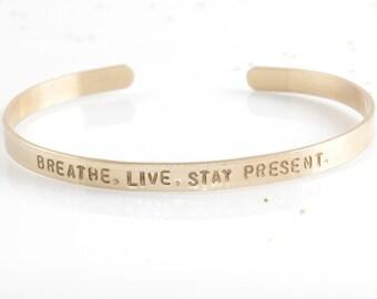 Personalized Cuff Bracelet, Personalized Gold Bangle, Coordinates Bracelet, Hand Stamped Bracelet, Customized Gold Jewelry, Gold Bracelet
