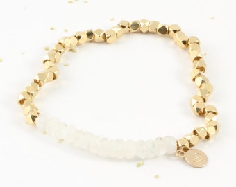 Beaded Moonstone Bracelet, Gold Bracelet, Gold Nuggets, Dainty Bracelet, Natural Gemstone Bracelet, Calming Stone, June Birthstone