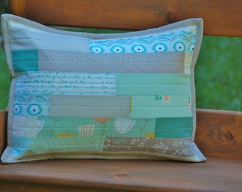 Shabby Chic Lumbar Pillow Cover in Aqua, Mint, Gray, Cream, and Gold, featuring Littlest Fabric and Brambleberry Ridge Fabric
