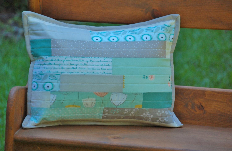 Shabby Chic Lumbar Pillows : Shabby Chic Lumbar Pillow Cover in Aqua Mint Gray Cream
