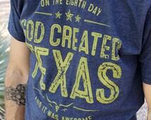 God Created Texas T-Shirt // Deep Navy & Gold Christian TShirt for Men // Texas Shirt // Texas tshirt
