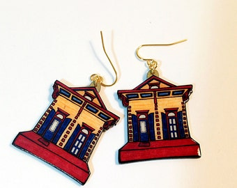 New Orleans Shotgun House in Gold and Mulberry – Ursulines St. Earrings