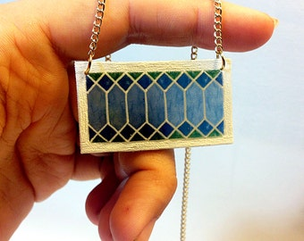 Stained Glass Transom Window Necklace in Sky Blue – New Orleans Architectural Detail Jewelry