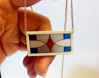 Stained Glass Transom Window Necklace with Red Diamond – New Orleans Architectural Detail Jewelry