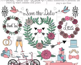 DOODLE WEDDING CLIPART, small commercial use wedding digital illustration set, hand drawn wedding clipart doodles