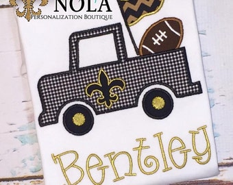Black & Gold Fleur de lis Truck with Football T-Shirt or Bodysuit