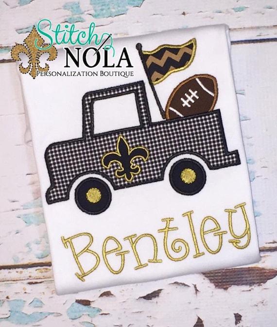 Black & Gold Fleur de lis Truck with Football T-Shirt or Bodysuit