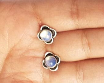 Moonstone Stud Earring Silver Stud Earring Stone Stud Gemstone Stud 5mm Minimal Stud Earring Gift