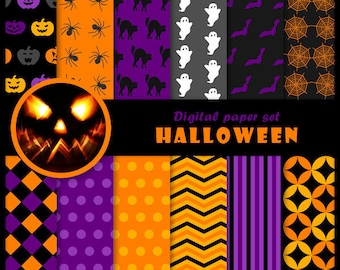 Halloween 12 digital papers set