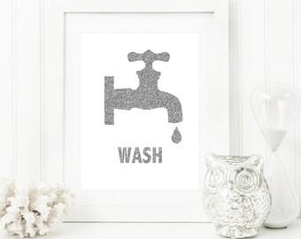 Wash Printable + Bathroom Art Print + Bathroom Sign + Printable Bathroom + Bathroom Wall Art + Bathroom Wall Decor + Wash Print + Printable