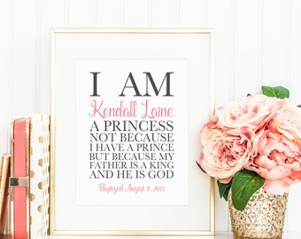 I Am A Princess Baptism Gift Girl. Baby Girl Baptism. Girl Baptism Gifts. Christening Gift Girl. Baby Dedication Gift. Personalized Baptism.