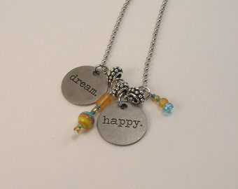SALE!  Dream Happy Necklace, Charms, Silver, Orange, Blue