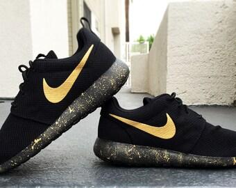 new concept 057a0 ffc48 Custom Nike Roshe Run Womens and Mens Custom Nike Roshe, Black and Gold,  Black, Gold, Splatter ...