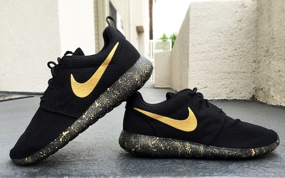 Womens and Mens Custom Nike Roshe, Black and Gold, Black, Gold