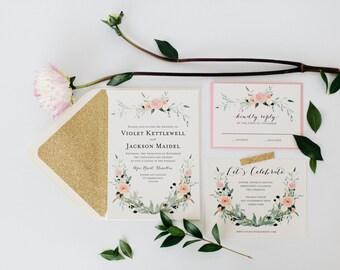 violet wedding invitation  //  printable option / watercolor floral / gold / blush / romantic / calligraphy / glitter / custom / invite