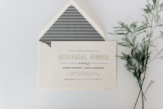 simple, modern rehearsal dinner invitation (sets of 10)  // lola louie paperie