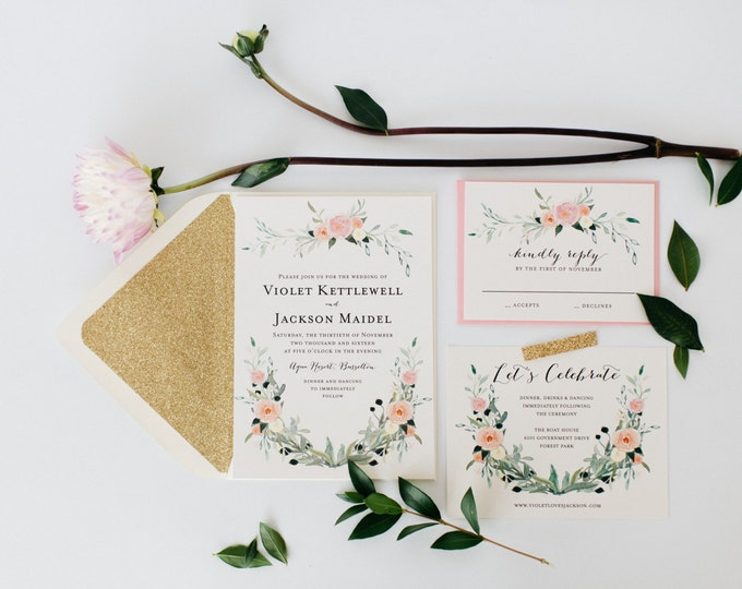 violet wedding invitation sample set  // watercolor floral gold blush romantic calligraphy glitter custom invite