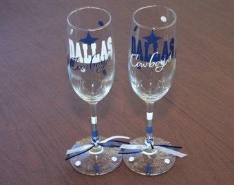 Dallas Cowboys Champagne Flute Set, Go Cowboys, football Champagne, Cowboys Wedding