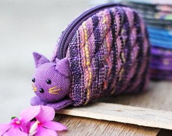Cat coin purse, Coin purse zipper, Zipper pouch, Change pouch, Purse zipper, Gift