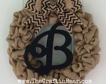 Burlap wreath with initial and chevron bow - personalized wreath - initial wreath