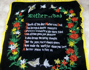 Vintage VELVET Pillow sham Mother and Dad Poem - With Fringe - Excellent condition -Never used