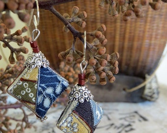 Japanese textile earrings, silver thread embellished, antiqued silver alloy detail. Chocolate, olive, yellow, blue, oatmeal