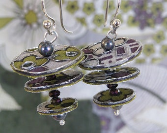 Purple & Green floral textile earrings, discs and beads, silver thread embellished