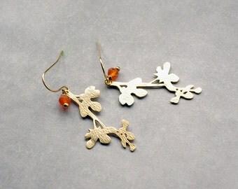 Magnolia earrings, Gold branch earrings, Carnelian earrings, Dangle orange earrings, Natural gemstone earrings,  Perfect autumn earrings