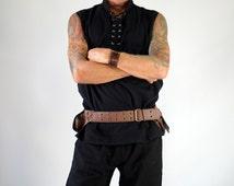 BAGGY RENSHIRT BLACK - Sleeveless Renaissance Shirt, Pirate Costume, Medieval Shirt, Viking Tunic, Steampunk Shirt, Viking Shirt