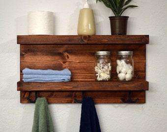Bathroom 2 Tier Floating Shelf Robe Hooks Towel Rack Rustic Red Modern Coat Rack