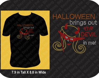 Halloween bling shirt Halloween brings out the devil in me rhinestone bling shirt Halloween shirt Halloween witch bling shirt