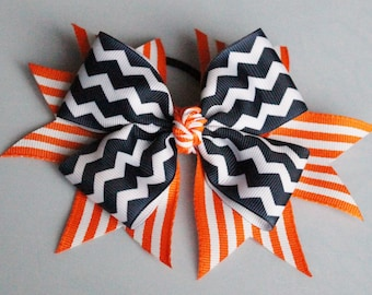 Chevron and Stripe Hair Bow - Big Hair Bow - Cheerleading Hair Bow - Chevron Cheerleading Hair Bow - Stripe Cheerleading Hair Bow