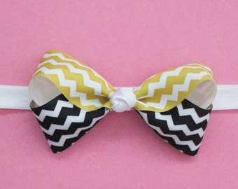 Two Toned Chevron Hair Bow - Two Colored Chevron Twisted Boutique Hair Bow