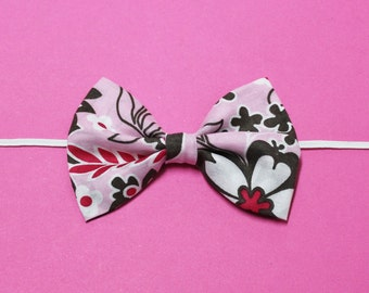 Pink and Brown Flower Bow Headband